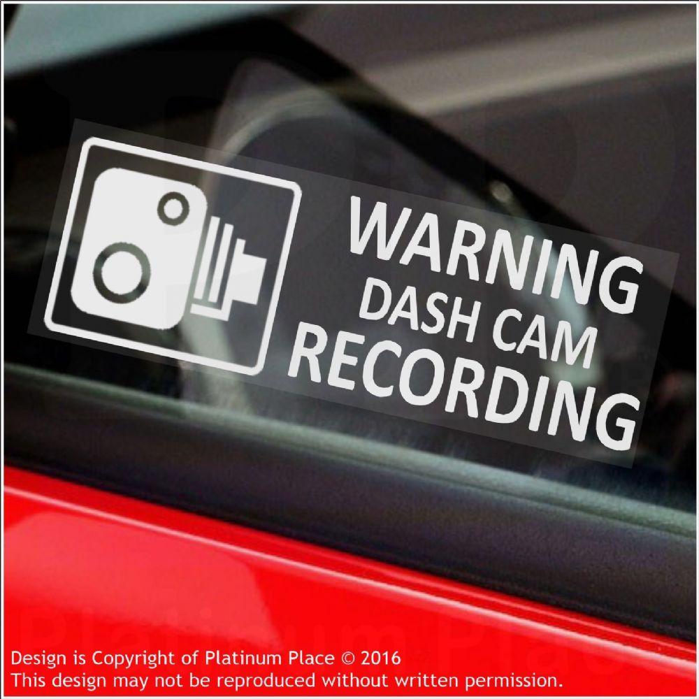 5 X Warning Dash Cam Recording 30x87mm Window Stickers